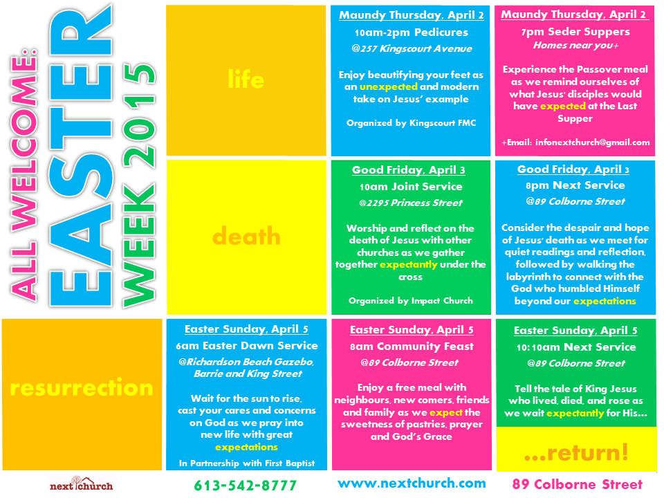 Poster for nextChurch's Easter 2015 Events